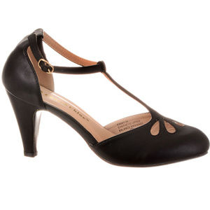 NEW Vintage Pinup T-Strap Heels Pumps in Licorice